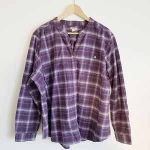 LL Bean collarless flannel long sleeve button up